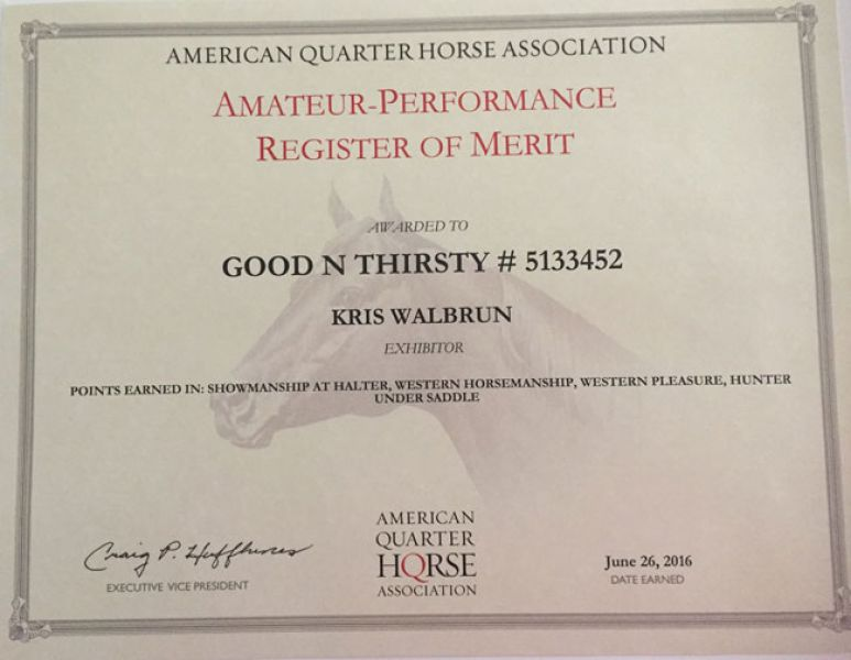 Good N Thirsty Aqha Amateur Performance Rom Certificate